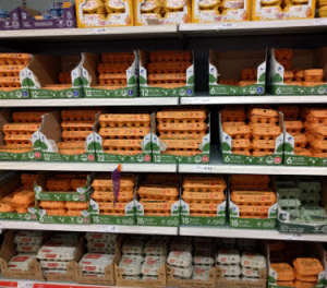 supermarket shelves are full of eggs
